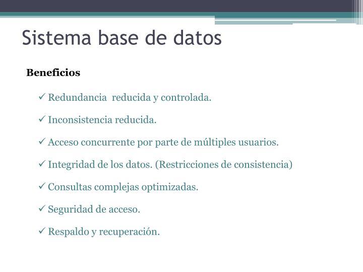 Sistema base de datos