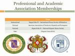 professional and academic association memberships