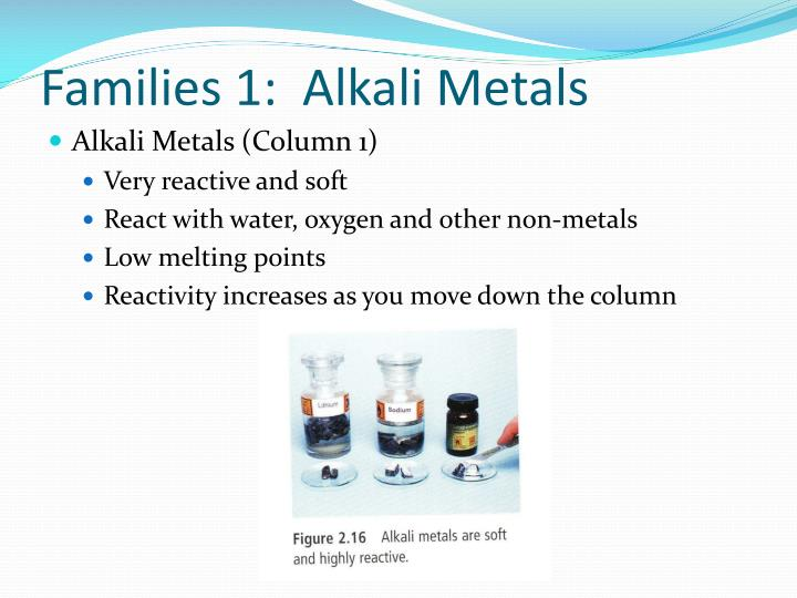 Families 1:  Alkali Metals