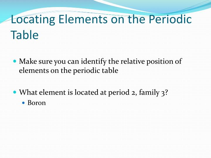 Locating Elements on the Periodic Table