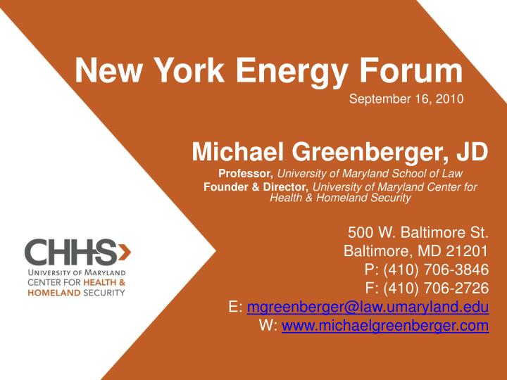 New york energy forum september 16 2010