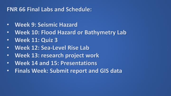 FNR 66 Final Labs and Schedule: