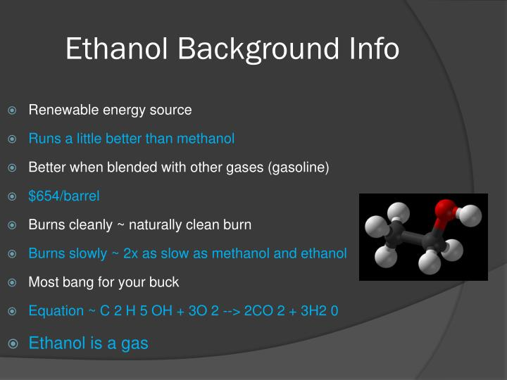 a research on methanol the future of fuels Since i have done this research i have never realized how important future fuels are methanol is a liquid fuel made form natural gas or renewable biomass resources methanol is the leading candidate to provide the hydrogen necessary to power fuel cell vehicles.