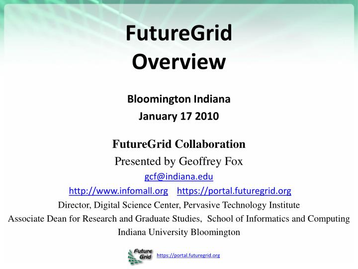 futuregrid overview n.