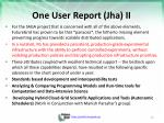 one user report jha ii