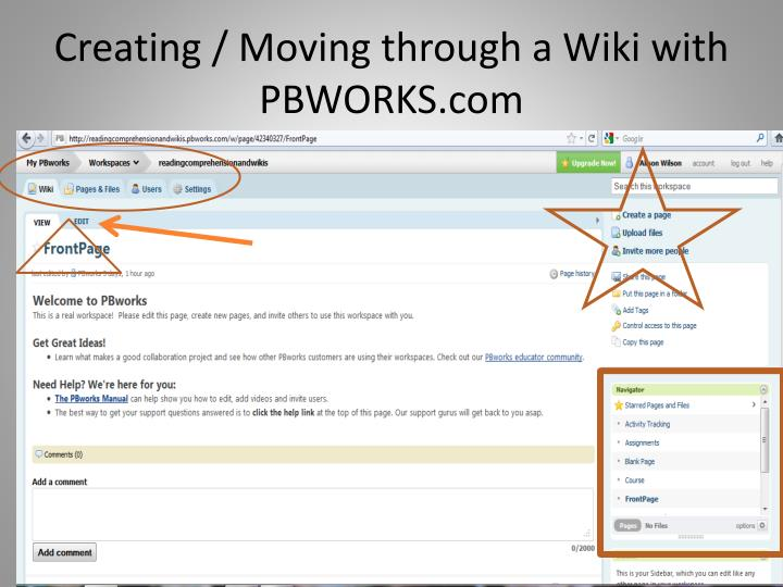 Creating / Moving through a Wiki with PBWORKS.com