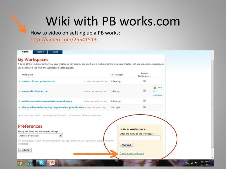 Wiki with PB works.com
