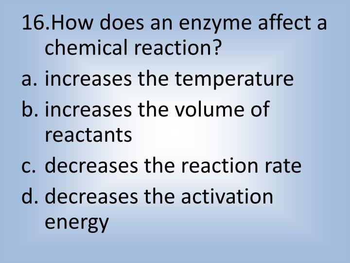 How does an enzyme affect a chemical reaction?