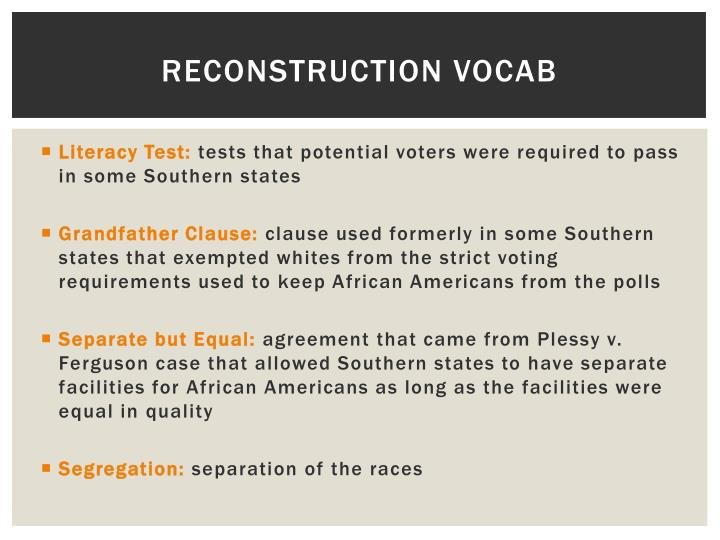 Ppt Civil War Reconstruction Vocab Powerpoint Presentation Id