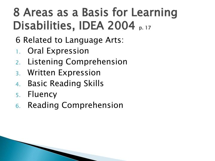 8 Areas as a Basis for Learning Disabilities, IDEA 2004