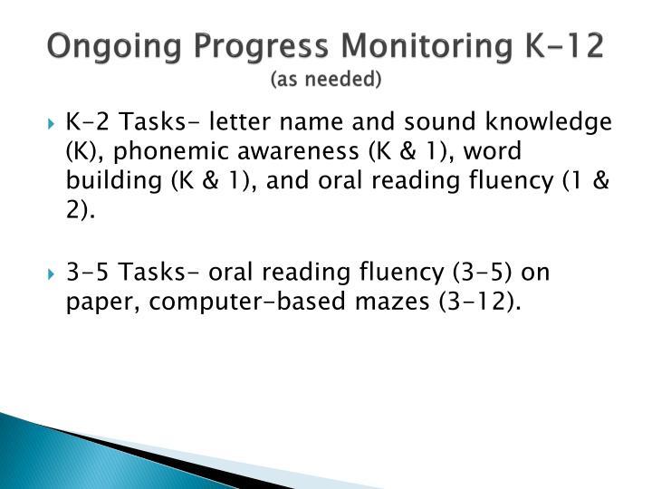 Ongoing Progress Monitoring K-12