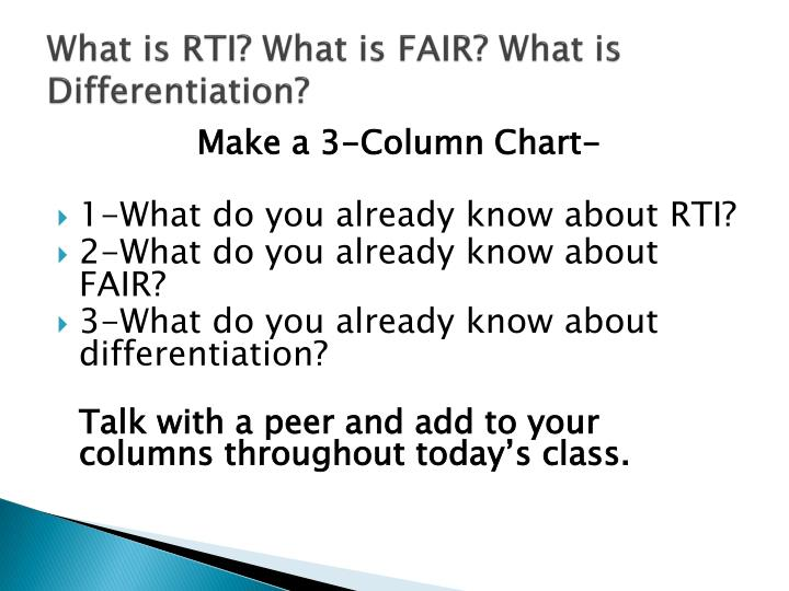 What is rti what is fair what is differentiation