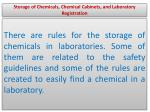 storage of chemicals chemical cabinets and laboratory registration