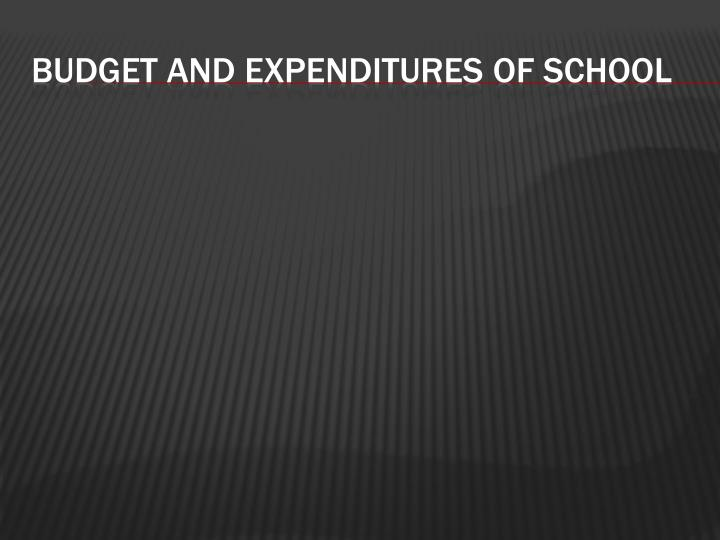 Budget and expenditures of school