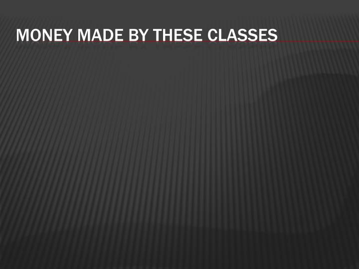 Money made by these classes