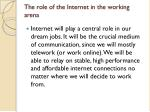the role of the internet in the working arena