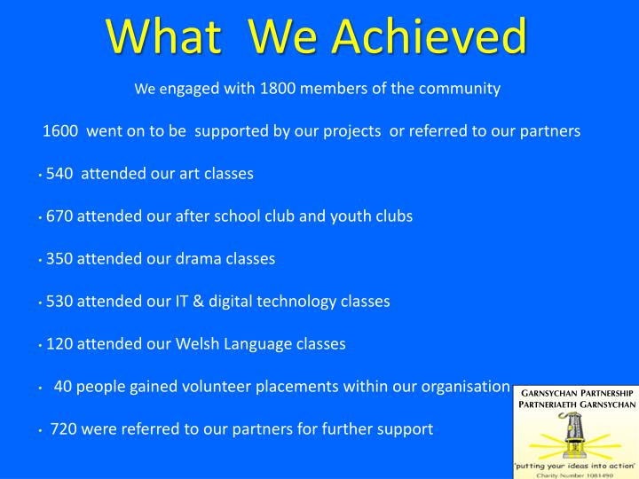 What  We Achieved