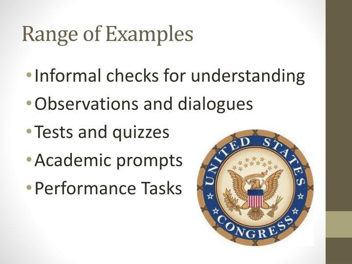 Range of Examples