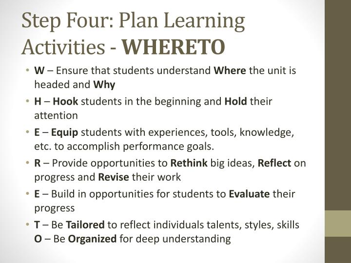 Step Four: Plan Learning Activities -