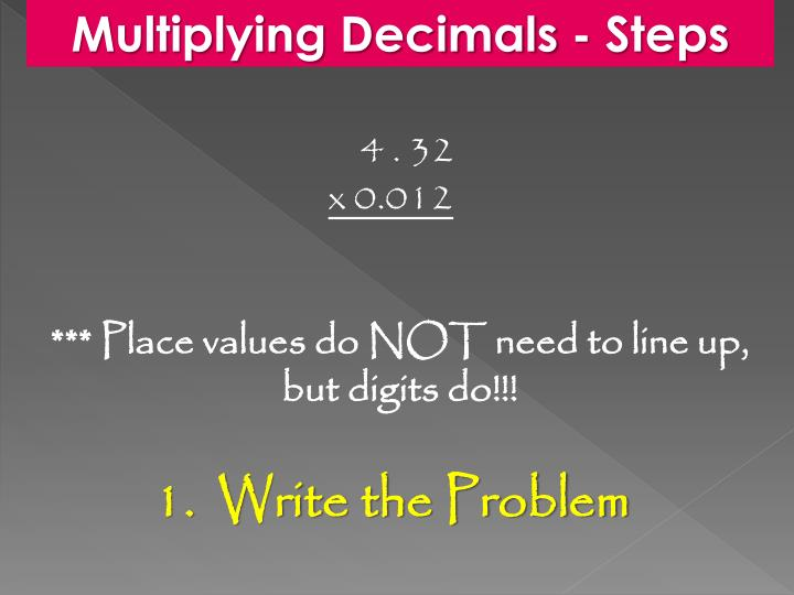 Multiplying Decimals - Steps