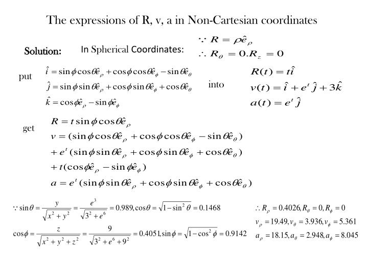 The expressions of R, v, a in Non-Cartesian coordinates
