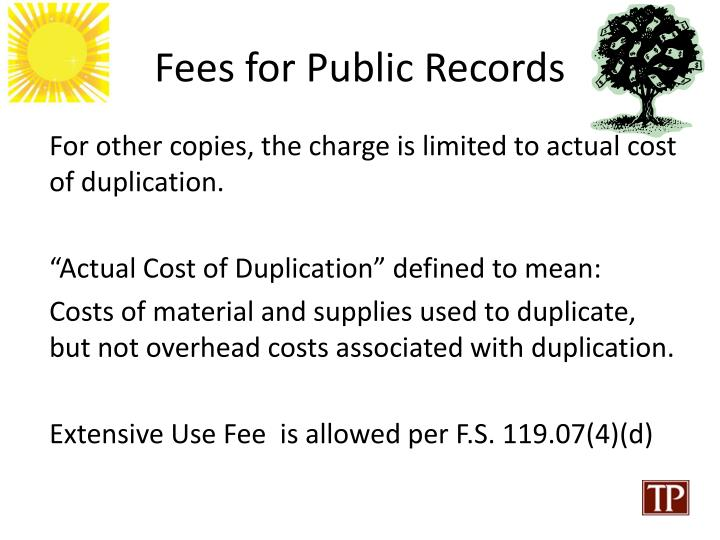 Fees for Public Records
