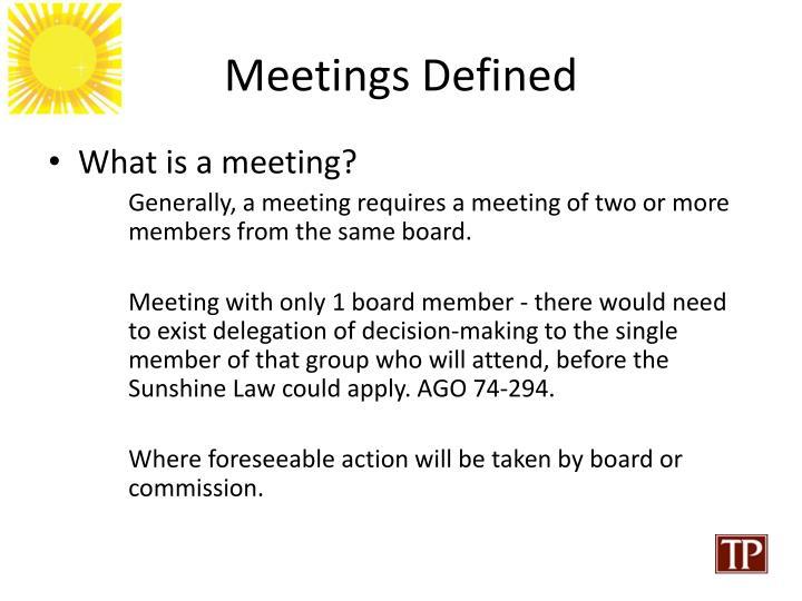 Meetings Defined