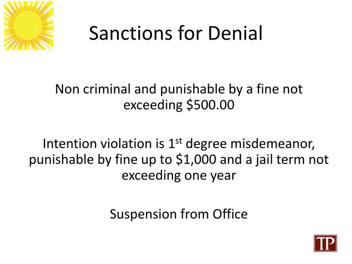 Sanctions for Denial