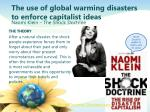 the use of global warming disasters to enforce capitalist ideas
