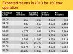 expected returns in 2013 for 150 cow operation