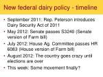 new federal dairy policy timeline