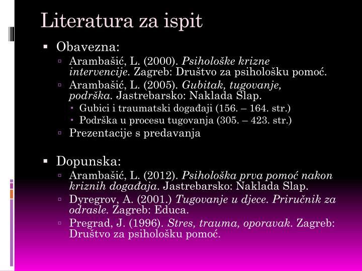 Literatura za ispit