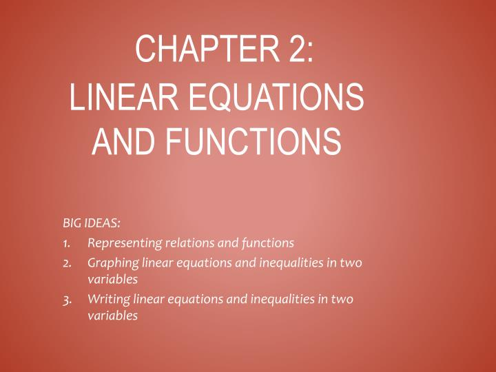 chapter 2 linear equations and functions n.