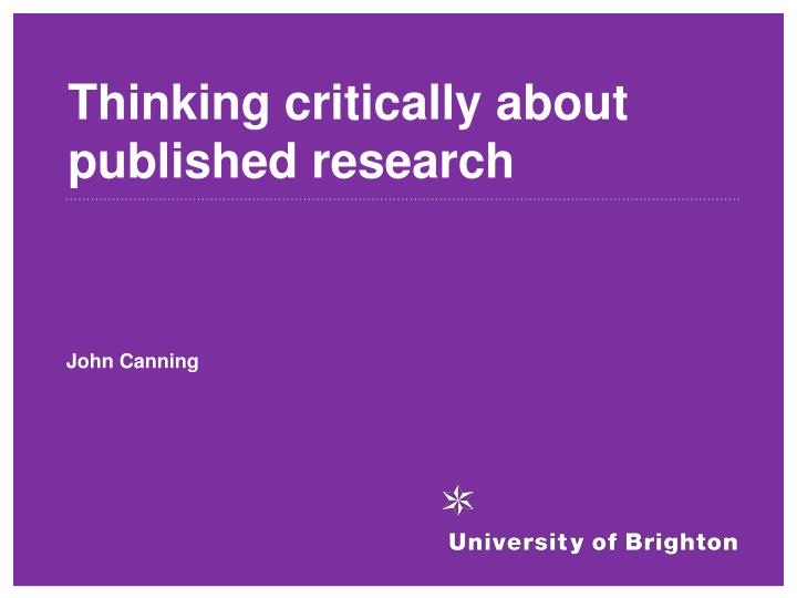 thinking critically about published research n.