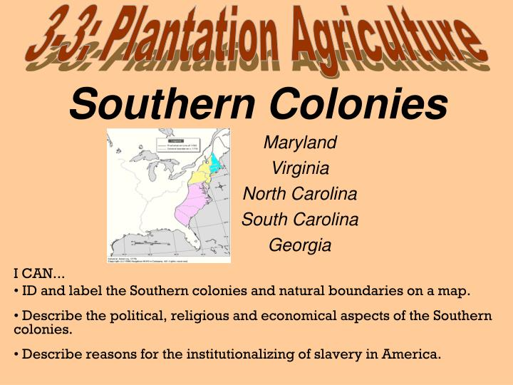 ppt southern colonies powerpoint presentation id 3230824