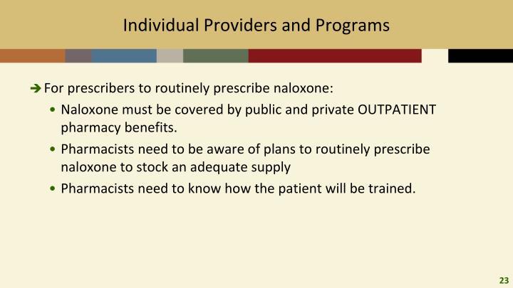 Individual Providers and Programs