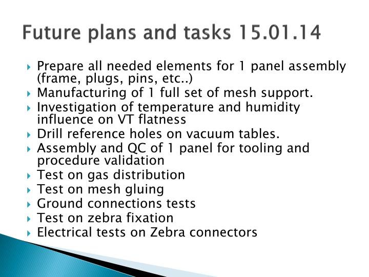 Future plans and tasks 15.01.14