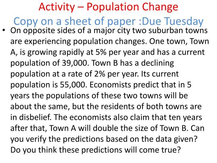 Activity – Population Change