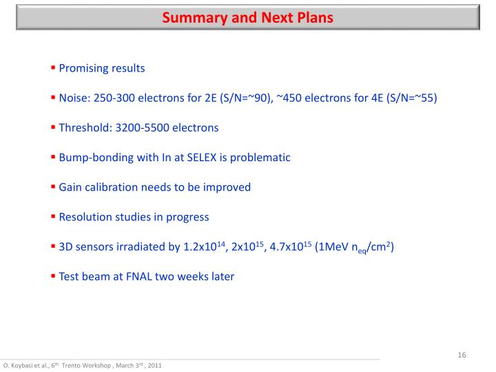 Summary and Next Plans