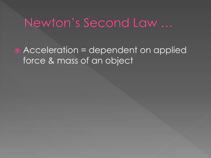 Newton's Second Law …