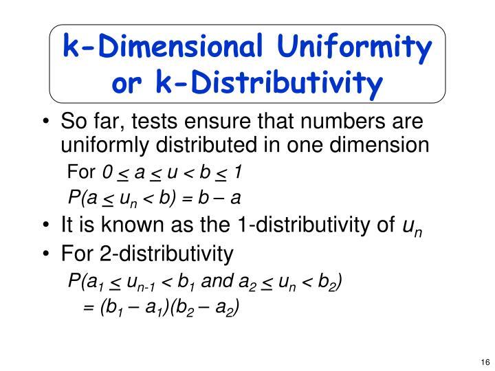 k-Dimensional Uniformity or k-