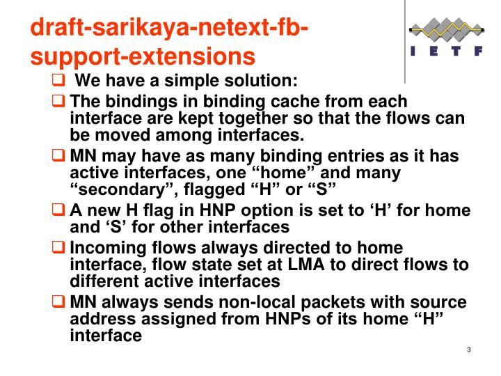 Draft sarikaya netext fb support extensions