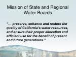 mission of state and regional water boards