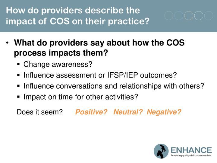 How do providers describe the impact of COS on their practice?