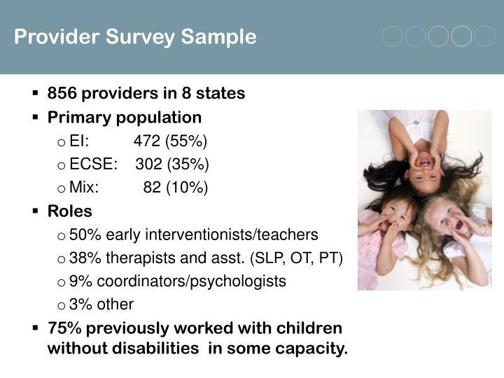 Provider Survey Sample