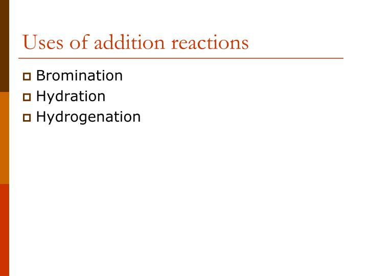 Uses of addition reactions