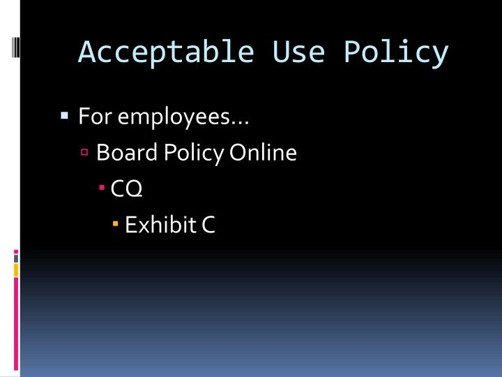 acceptable use policy definition An acceptable use policy (aup) is an important document which governs students' use of the internet at school and covers a wide range of issues surrounding the rights, responsibilities and privileges - as well as sanctions - connected with computer use.
