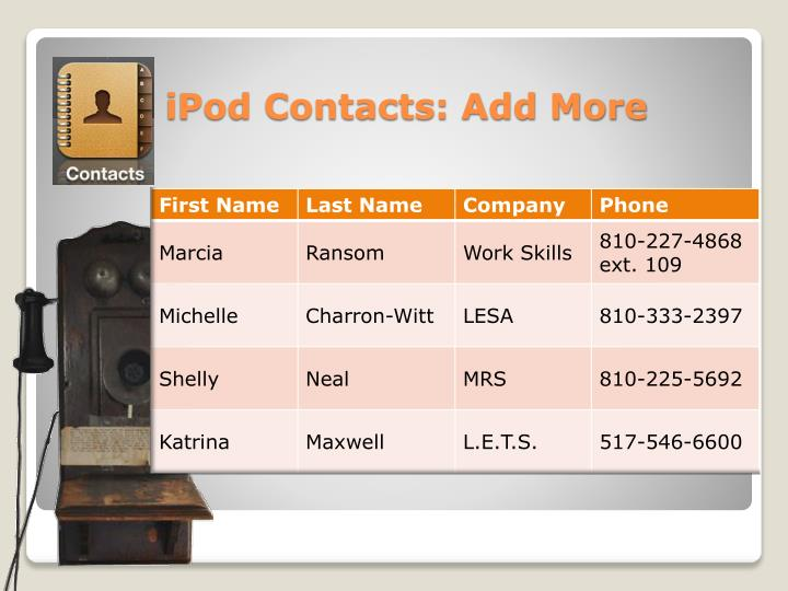 iPod Contacts: Add More