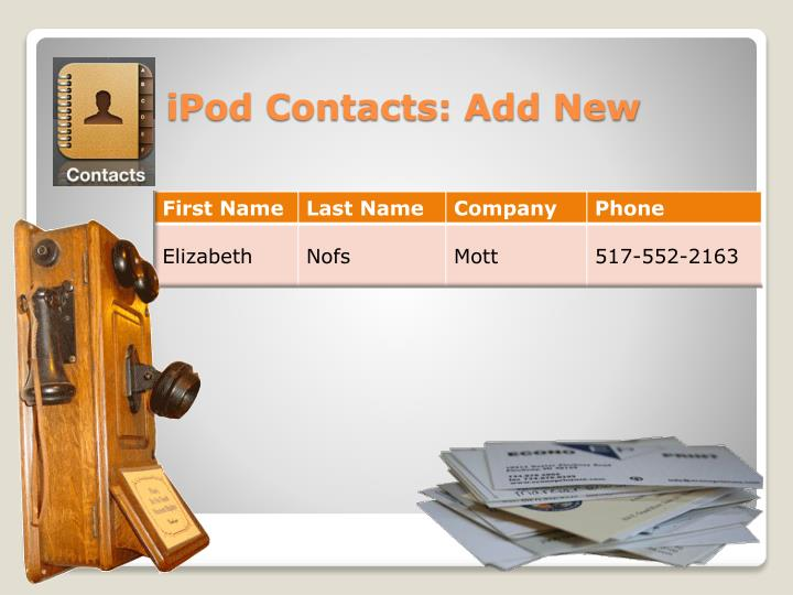 iPod Contacts: Add New