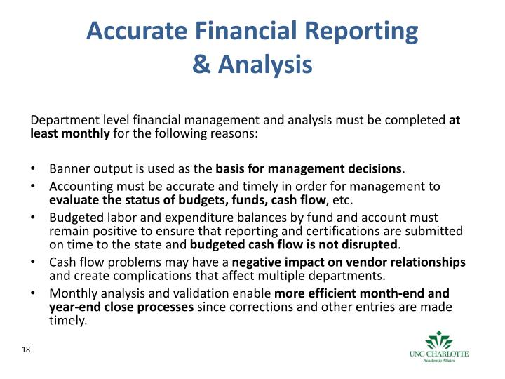 Accurate Financial Reporting